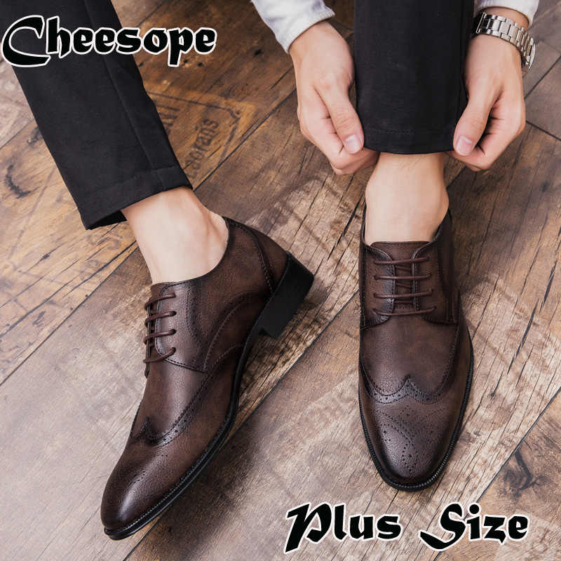 7c593787f215a6 Plus Size Men Brogue Dress Shoes Luxury Italian Style Pointed Toe Formal Wedding  Casual Lace-