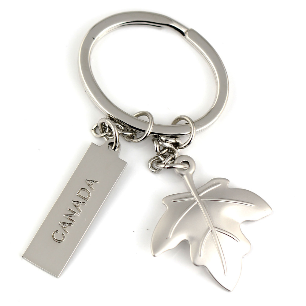 Key Rings Canada Us 2 88 Creative Canada Maple Leaf Keychain Silvery Color Fashion Romantic Lover Key Chain Ring Keyfob Keyring Key Holder In Key Rings From