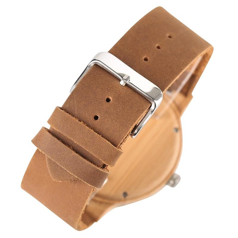 Fashion Wood Kellad Quartz meestele Naistele Ehtne Nahk Watchband - Meeste käekellad - Foto 4