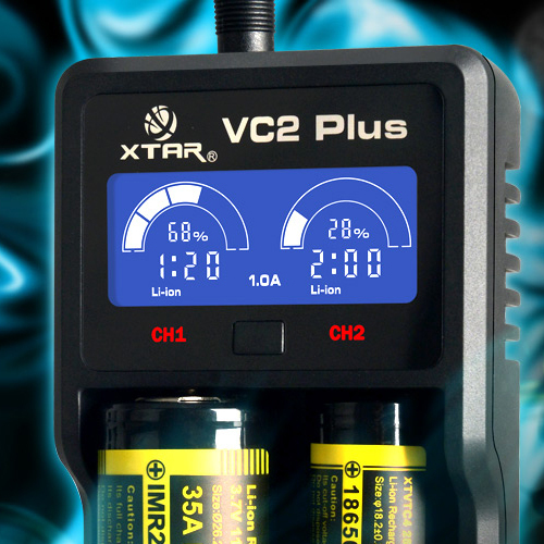 XTAR VC2 Plus LCD Battery Charger AA AAA 14500 26650 Battery Desulfator 18650 Battery Charger Li-ion Ni-MH Ni-CD Battery Charger
