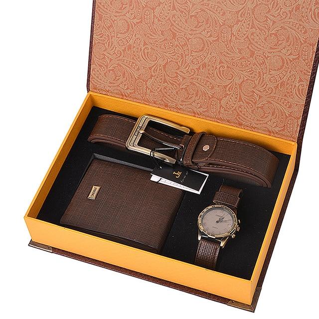6f49c4d0a5515 Man Watch Prezent Zestaw Z Pudełko Zegarek Skórzany Pasek Mężczyźni Portfele  męskie Zegarki Top Marka Luksusowe