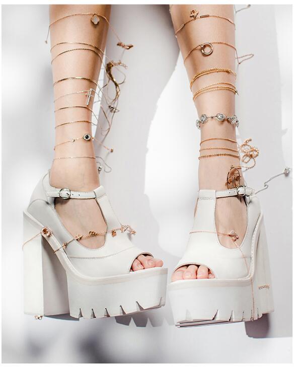 Attantou Luxury Leather Platform Sandals Ladies T-Strap Street Style High Heel Sandals Women White Chunky Heel Dress SandalsAttantou Luxury Leather Platform Sandals Ladies T-Strap Street Style High Heel Sandals Women White Chunky Heel Dress Sandals