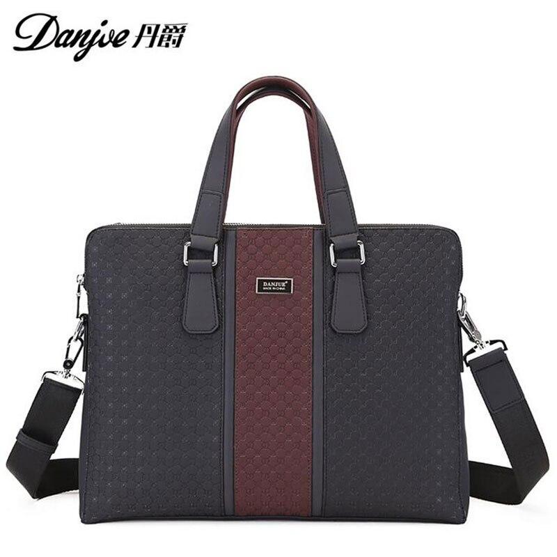 2016 DANJUE British Style For 14 Laptop Fashion Transverse Shoulder Bags High Quality Genuine Cowhide Solid men Laptop bag DJ10