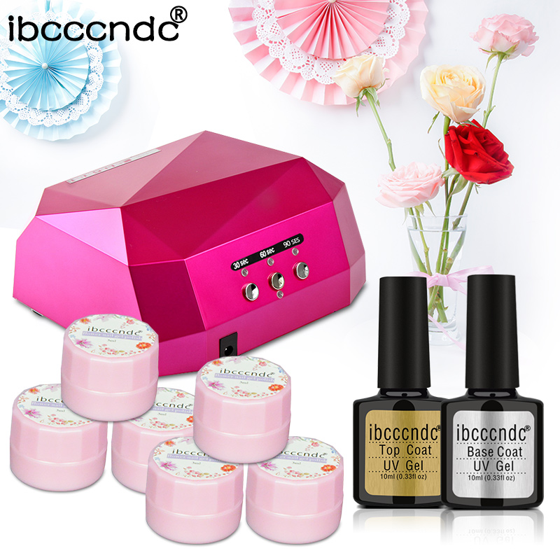 6 Colors Dried Flowers Gel Nail Polish Set 36W Diamon uv led lamp manicure uv gel nail art DIY nail tools sets kits nail gel kit em 128 free shipping uv gel nail polish set nail tools professional set uv gel color with uv led lamp set nail art tools