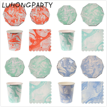 24pcs Marble Tiffany Blue Orange Paper Plate Paper Cup Party Tableware High Quality Birthday Bridal Party Decoration LUHONG