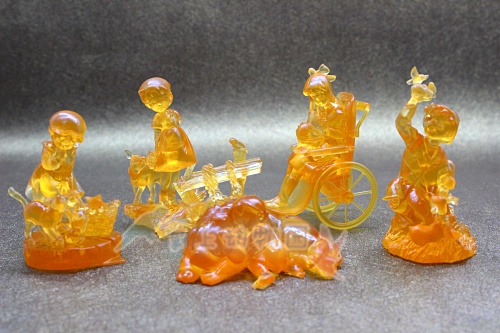 Transparent amber color figure scene Decoration Heidi, Alps series 5pcs/set assemble figure. out of print