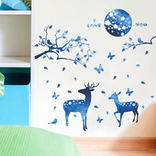 Fantastic Sika Deer With Butterfly Wall Stickers For Home Decor Living Room Kids Decoration DIY PVC Animal Mural Decal