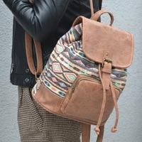 Women Vintage Bohemian Geometric backpack ladies bags canvas PU leather shoulder bag Boho Fabric Bag national ethnic Bags