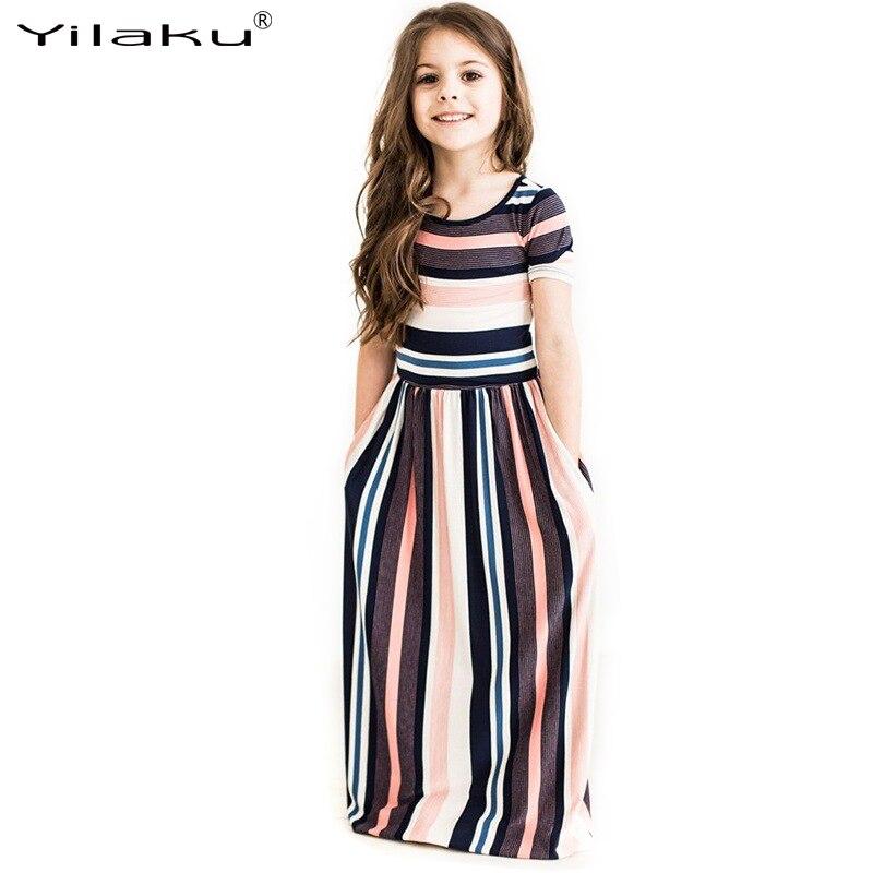 2017 nowych moda dziewczynek w paski sukienka letnia dziewczynka - Ubrania dziecięce - Zdjęcie 2