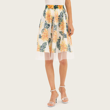 Wasteheart Summer Black White Bohemian Women Fashion Sexy Skirt High Waist Mini Flower Printed Long Skirts Beath A-Line