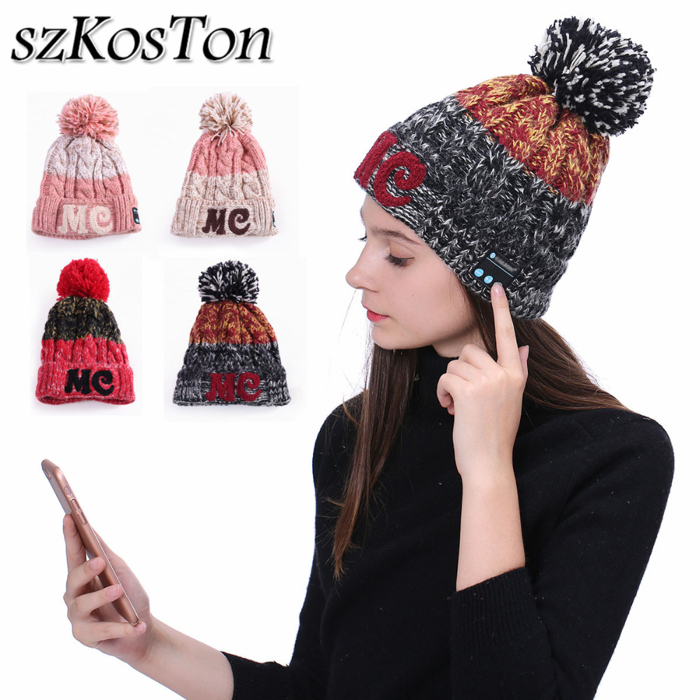 Bluetooth Music Hat Wireless Bluetooth Earphone Winter Warm Beanies Headset Headphone Hat with Mic for iPhone x xs 8 for Xiaomi