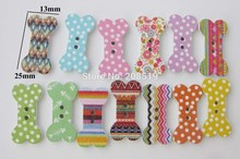 WBNWVE 13mm*25mm Printing wood buttons Bowtie100pcs cute baby shirt button sewing scrapbooking