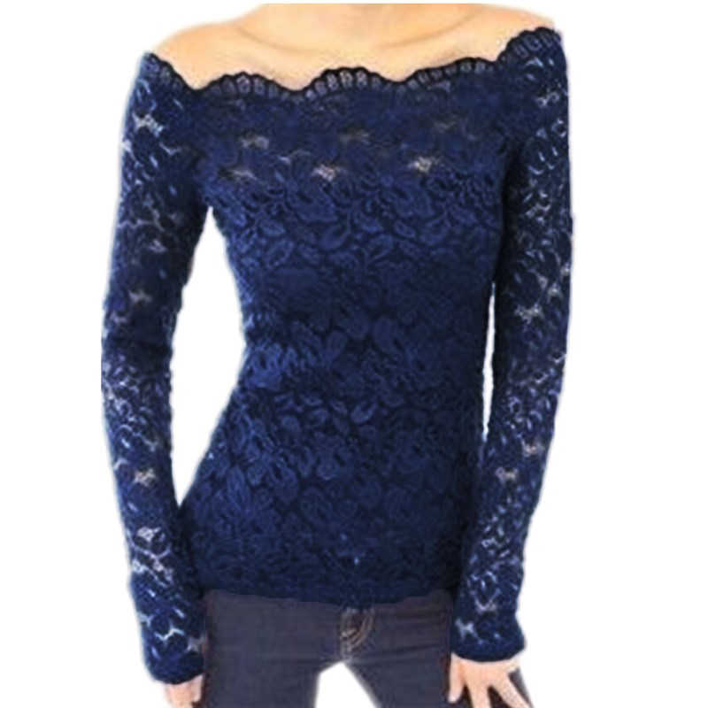 HTB1gdQKJXXXXXXYXXXXq6xXFXXXJ - Autumn Sexy Women Blouses Off Shoulder Lace Crochet Shirts