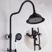 Free Shipping Luxury Antique Bathroom Rainfall Shower Set Faucet Tub Mixer Tap Hand Held Shower Black