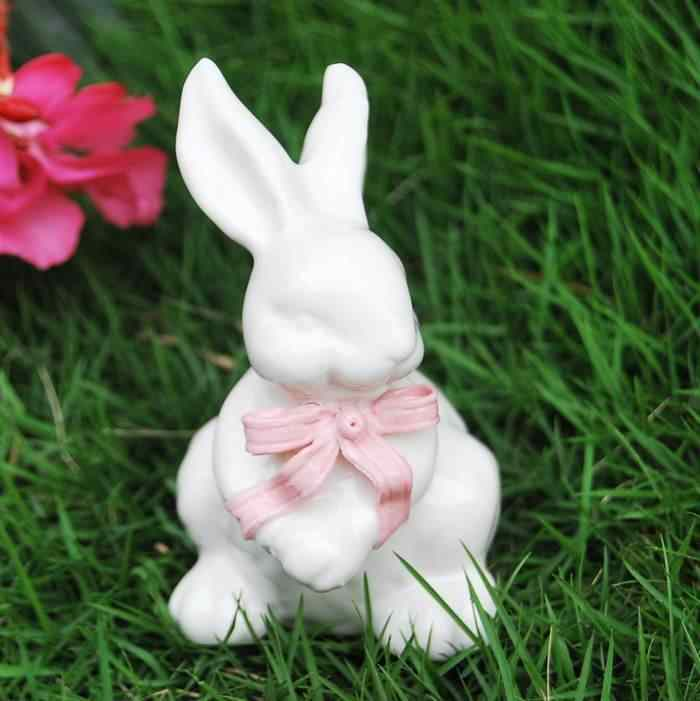 European High Quality Ceramic Crafts Simulation Animal Rabbit Model Ornaments Outdoor Villa Garden Decoration Exquisite Gift