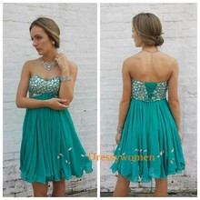 2015 Simple Cute A-Line Sweetheart Beading Empire Homecoming Dresses Prom gowns lace-up Short Party dresses Custom Made