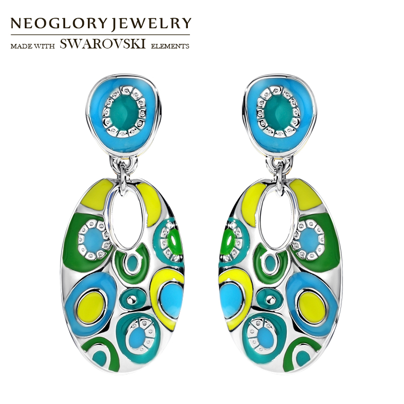 Neoglory Enamel Colorful Ethnic Bohemian Long Oval Drop - Նորաձև զարդեր - Լուսանկար 3