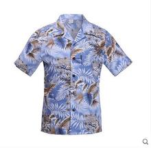 2016 Summer Mens Short Sleeves Cotton Shirts Printing Holiday Vacation Hawaii Shirts Male Loose Beach Shirt Tops S/2Xl J1196
