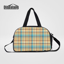 Dispalang Women's Travel Luggage Duffle Bags Plaid Pattern Shoulder Bag For Traveling Canvas Weekend Bag Handbags Clothes Duffel