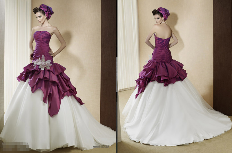 Purple And Ivory Two Tones Ball Gown Wedding Dresses Non White ...
