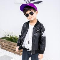 Children's Jacket Baby Boy Girl Clothes 2019 Spring Print PU Leather Coat Long Sleeve Stand Collar Jacket Windproof Outwear Y256