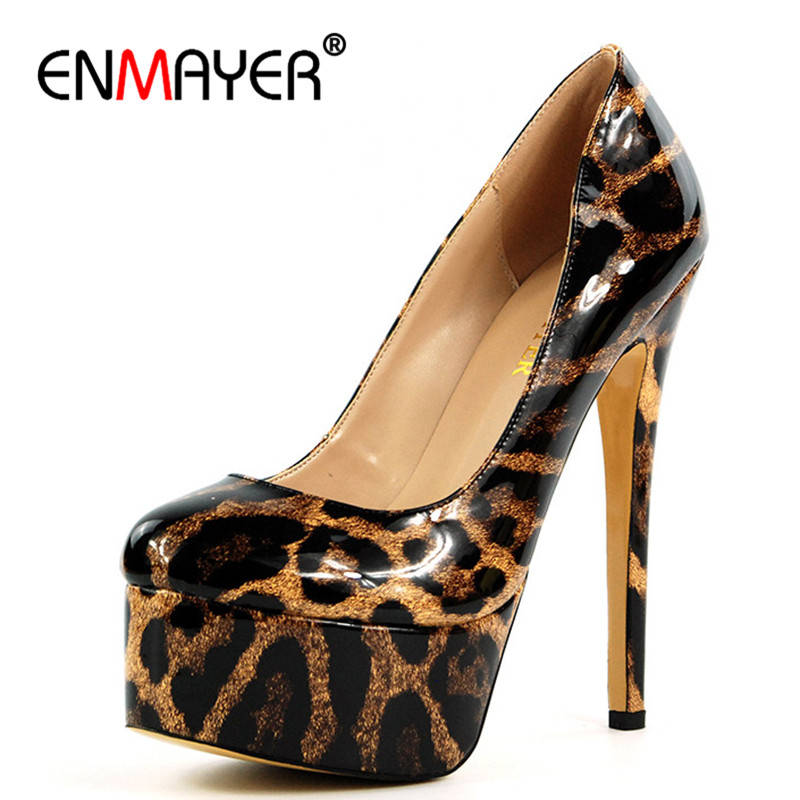 ENMAYER Superstar Shoes Top Quality 2018 New Fashion Pumps Shoes Woman High Heels Round Toe Platform Shoes Summer Pumps romyed bridals wedding shoes kim kardashian pumps superstar shoes top quality flowers evening christian shoes size 4 16 shofoo