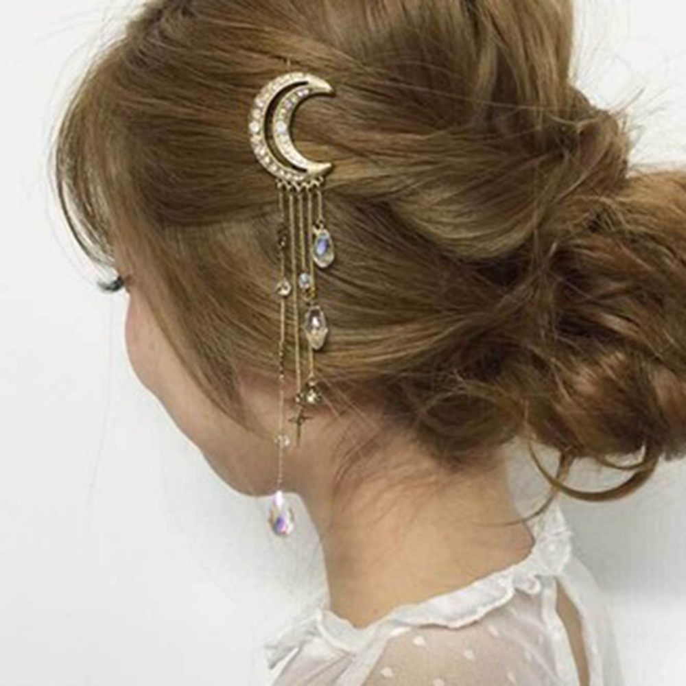 Meyfflin 2017 Charming Fashion Moon Crystal HairPins Hair Clips for Women Girls Long Tassels Hair Accessories Jewelry Bijoux