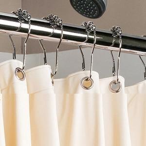 Image 5 - 12pçs ganchos de cortina de aço inoxidável, práticos, cortinas de banho, rollerball, anéis de glide, acessórios conveniente para casa e banheiro