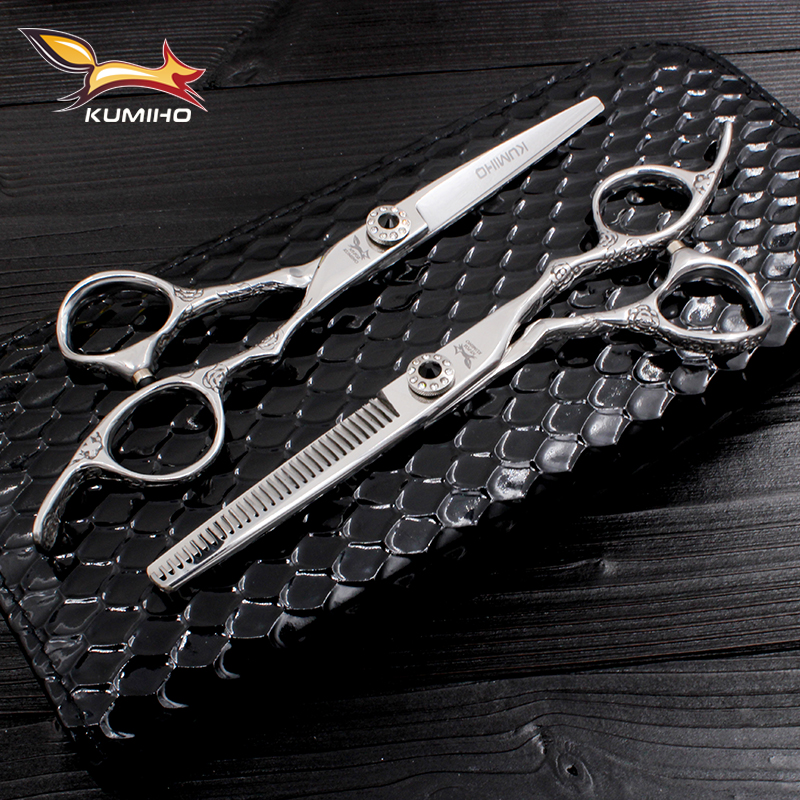 KUMIHO Professional Hair Scissor 6 Inch Hair Shear Set With Black Leather Case Hairdressing Scissors With Flower Rngraved Handle