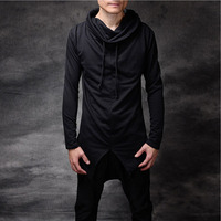 Korean Fashion Men S Punk Style Black Pullover With Hood Drawstring Turtleneck Hip Hop Gothic Sweatshirts
