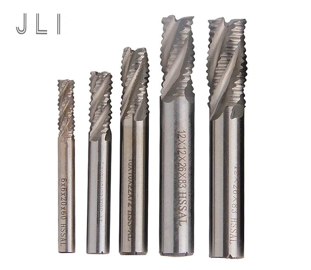 JLI 5pcs/set 4 Flutes 6/8/10/12/14mm Roughing Milling Cutter HSS Straight Shank Router Bit Carbide End Mill CNC Tools jli vol 06