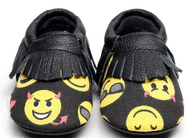 2016 Nova Moda de Couro Genuíno Mocassins Sapatos Dos Desenhos Animados Do Bebê Franja primeiro walkers suave sole infantil bebe Sapatos de Bebê