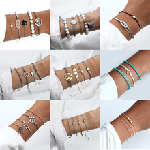 Womens Elegant Heart Bracelet Bohemian Multilayer Set Charm Braided Pineapple Flower Jewelry