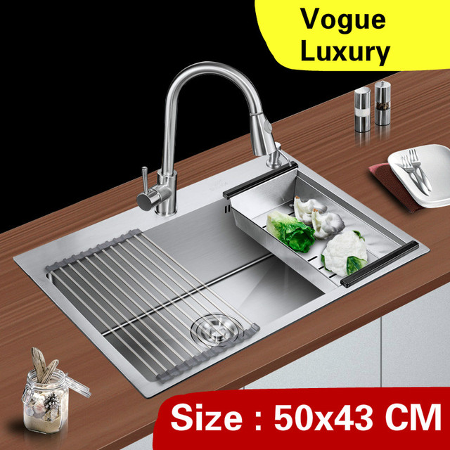 kitchen sink capacity cabinet replacement free shipping home luxury small manual single trough high wash vegetables 304 stainless