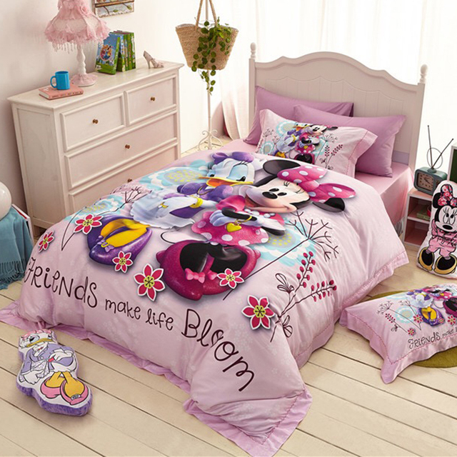 Disney Cartoon Minnie Mouse Donald Duck Goofy 100% Cotton Bedding Sets For  Childrens Bedroom Decor