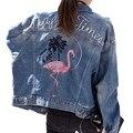 Высокое Качество Джинсовая Куртка Женщины Вышивка С Длинным Рукавом Жан Пальто 2017 Новая Весна Мода Бомбардировщик Куртка Негабаритных Куртки Mujer