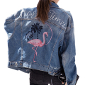High Quality Denim Jacket Women Embroidery Long Sleeve Jean Coat 2017 New Spring Fashion Bomber Jacket Oversized Chaquetas Mujer
