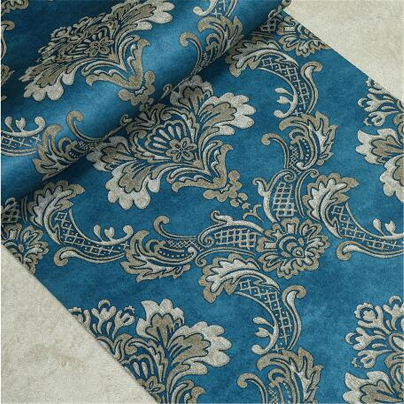beibehang friendly non-woven wall paper background living room bedroom blue wallpaper European relief Damascus papel de parede beibehang papel de parede retro classic apple tree bird wallpaper bedroom living room background non woven pastoral wall paper