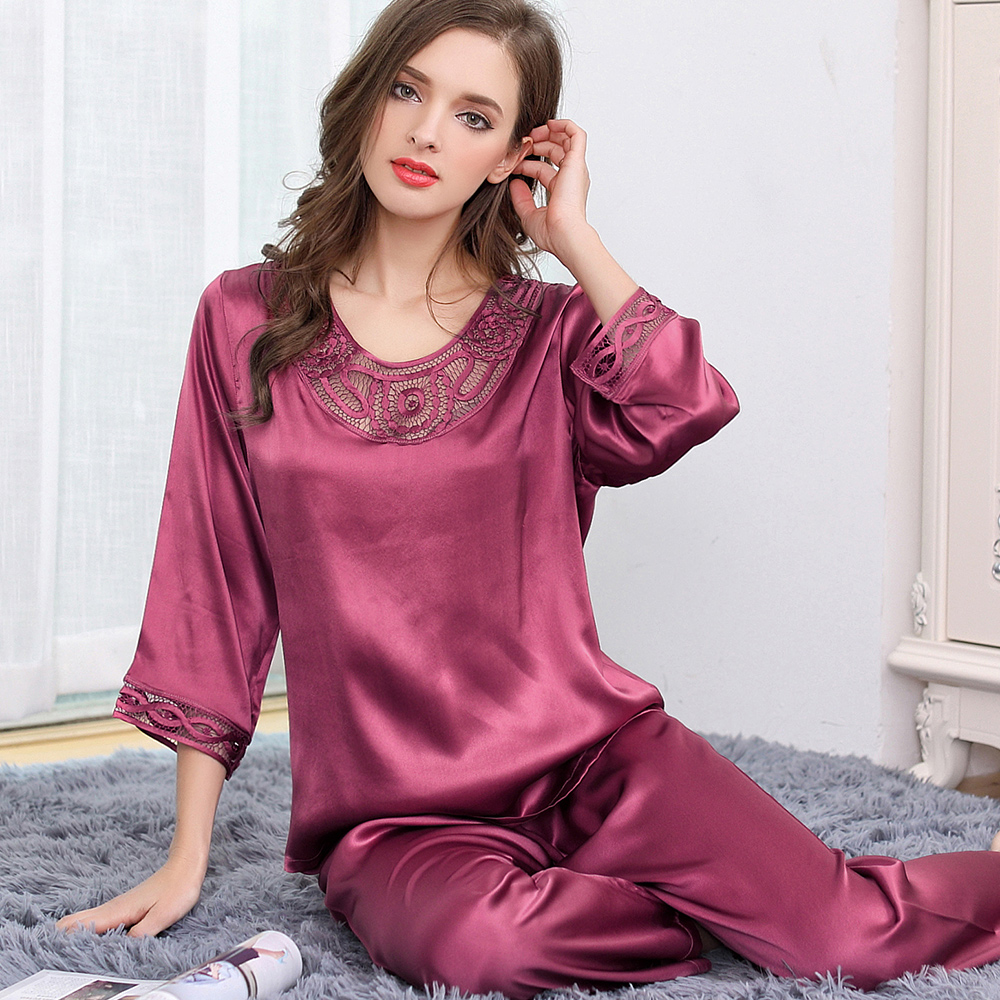 XXL women's silk pajama sets plus size 2019 new woman fashion brand solid color pink embroidery full length pants pajama set