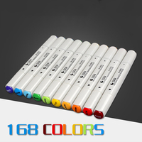 NEW High Quality 168 Colors Double Headed Sketch Alcohol Marker Pen 30 40 60 80 PCS