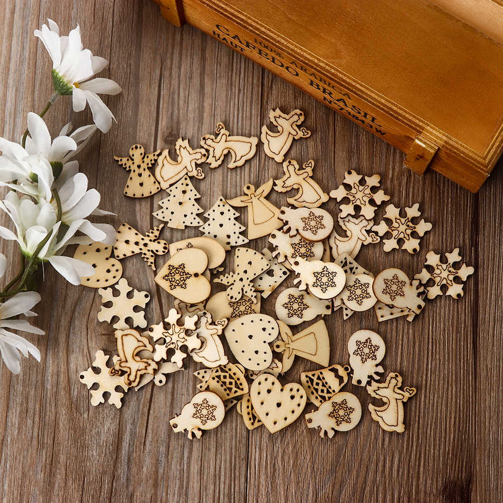 50Pcs Natural Wood Chip Christmas Carve Ornaments With Hole DIY For Craft Card Making Scrapbooking Embellishments DIY Crafts
