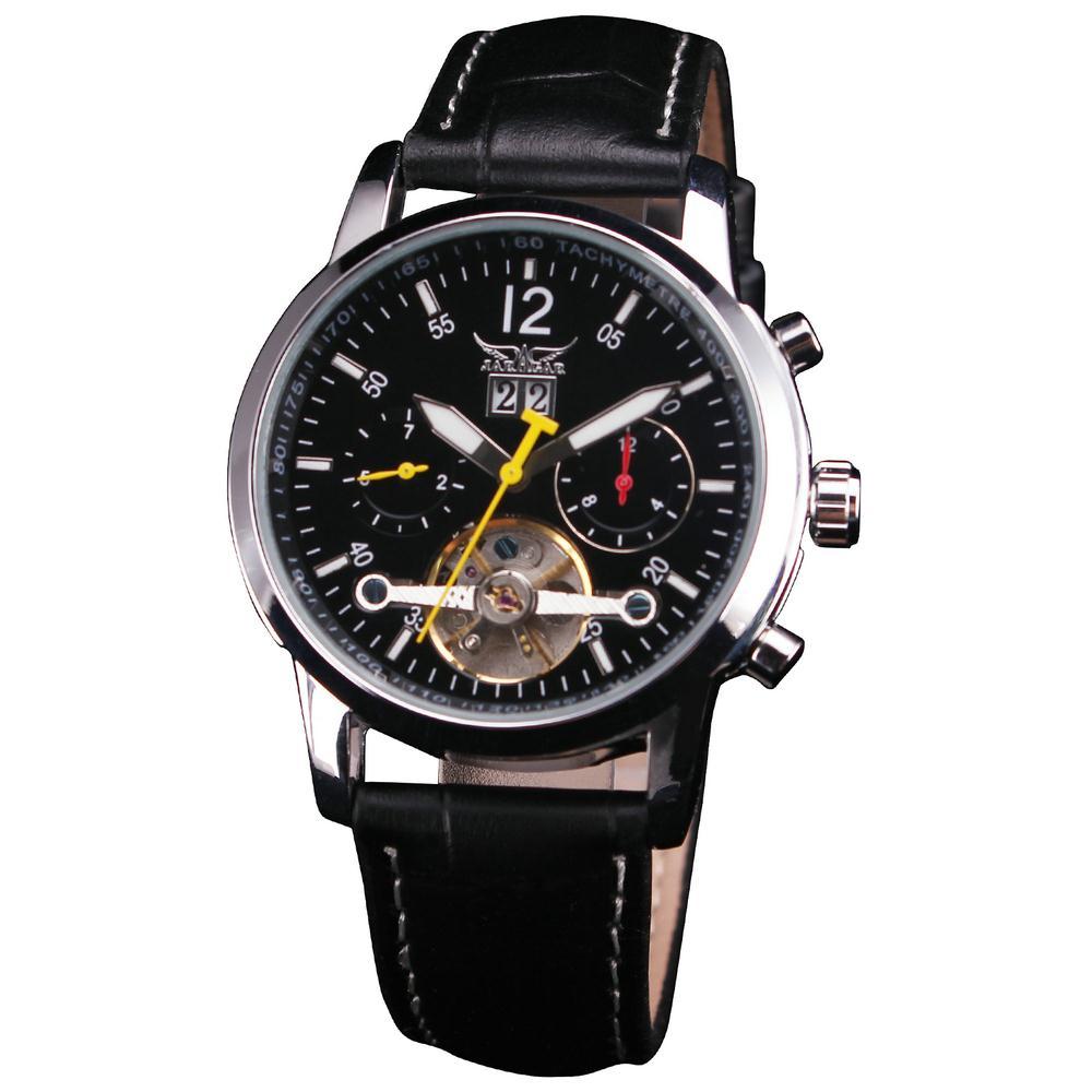 Men s Dress Leisure Mechanical Wrist Watch Tourbillon Colored Hands Genuine Leather Strap Concise Design Auto