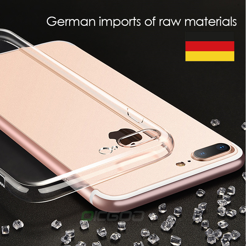 OICGOO Ultra Thin Soft Transparent TPU Case For iPhone 8 8 7 Plus 7 Clear Silicone Full Cover For iPhone X Case 6 6S Plus Cases