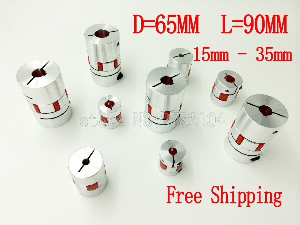 Free shipping Aluminium Plum Flexible Shaft Coupling D65 L90 15X35mm Motor Connector Flexible Coupler 15mm To 35mm