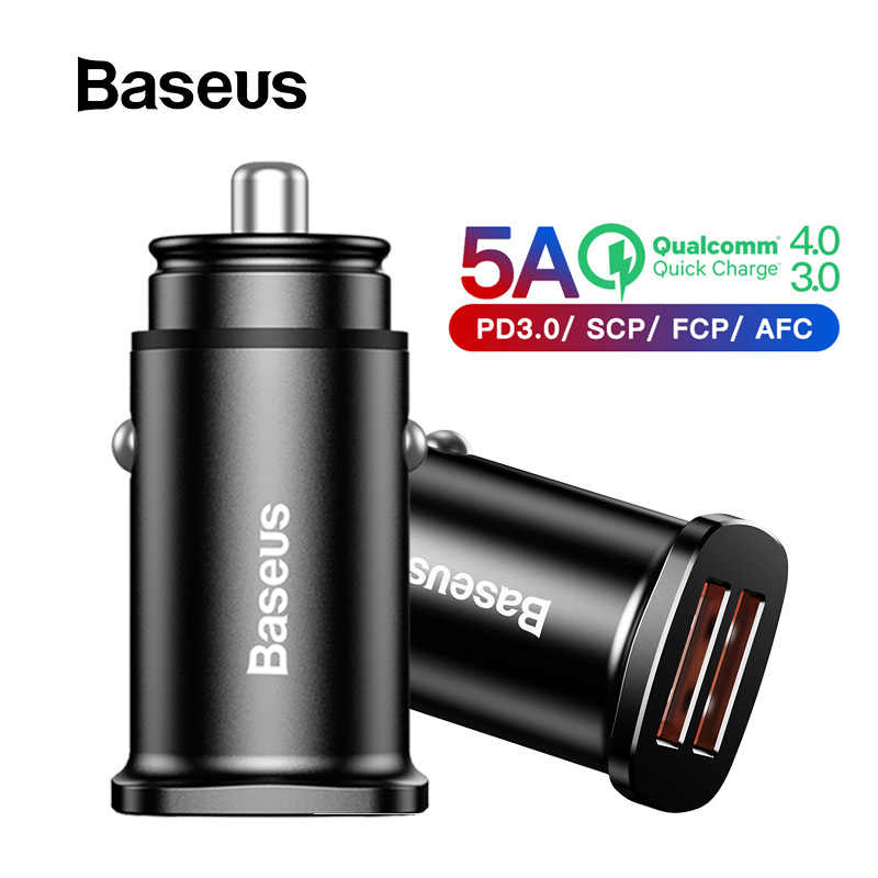 Baseus 30W Quick Car Charger Dual USB C PD QC 4.0 Fast Car Charging for Iphone X XS Max Huawei Samsung Mobile Phone Car-Charger