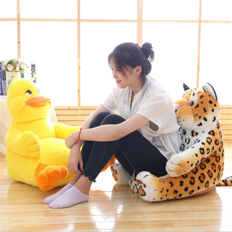 Fancytrader Pop Anime Duck Tiger Plush Chair Cushion for Kids Soft Stuffed Mini Sofa Animals Doll for Baby 60cmX60cm fancytrader new style giant plush stuffed kids toys lovely rubber duck 39 100cm yellow rubber duck free shipping ft90122