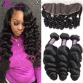 3 Bundles Loose Wave Brazilian Virgin Hair With Lace Frontal 13*4 Loose Wave Ear to Ear Lace Frontal With Baby Hair and Bundles