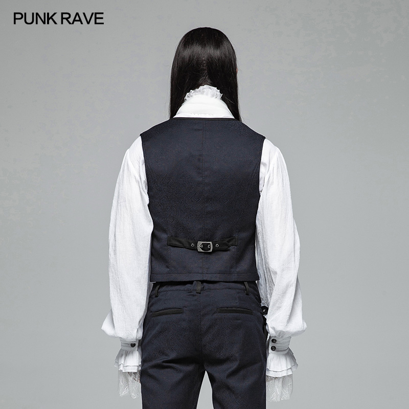 Kunfang New Men Steampunk Waistcoat Steampunk Jacket Victorian Sleeveless Gothic Brocade Gothic Vintage Vest