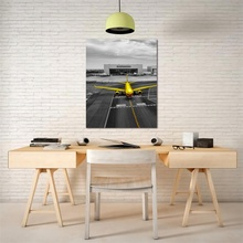 Laeacco Airport Calligraphy Painting Canvas Nordic Plane Posters and Prints Wall Artwork Home Decor Living Room Bedroom