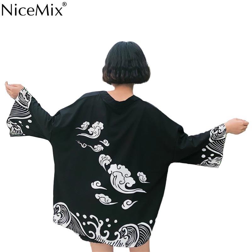 NiceMix New Japanese Harajuku Style woman Blouse vintage Waves and Wind Print Shirts loose kimono summer spring C